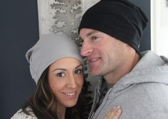 His and Hers PEBBLE and BLACK slouch beanies by Peggalish. Made with super soft bamboo and cotton french terry.  Available at www.peggalish.weebly.com