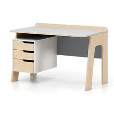 Šedo-bílý psací stůl se zásuvkami Devoto Nimbo