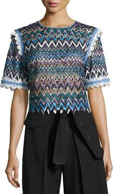 Saloni Woman Lace-trimmed Guipure Lace Top Multicolor Size 10 Saloni Fashionable Cheap Online Clearance Looking For Affordable Online Free Shipping Genuine PXsKFm3S3s
