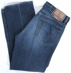 Diesel Industry Jeans 36W 32L Denim Division Blue Straight Leg Button Fly Italy #DIESEL #ClassicStraightLeg