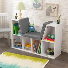 KidKraft White Bookcase with Reading Nook (Bookcase with Reading Nook White)