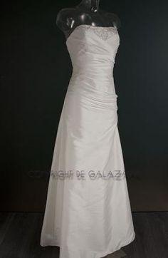 Statige bruidsjurk in wit taft 2070