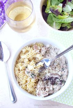 Simply Healthy Family: Creamy Rotisserie Chicken and Mushroom Pasta #WeekdaySupper