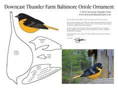 Baltimore Oriole Free Felt Ornament Pattern