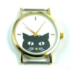 Cat Ribbon Watch Face Gold Tone , Beading Watch, Bracelet Watch, Watch Head by PlanetZia on Etsy