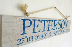 Custom name sign beach sign latitude by Pier22DesignStudio on Etsy