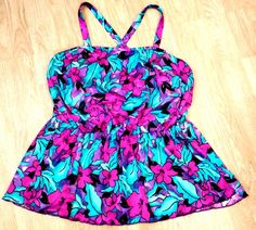 MAXINE of HOLLYWOOD Swimsuit Top Size 18 Floral Bathing Suit TankTini Top #MaxineofHollywood #TankiniTop