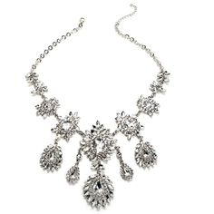 Silver Beauty Queen Statement Necklace ($26) ❤ liked on Polyvore featuring jewelry, necklaces, statement necklace, silver jewelry, silver jewellery, silver necklace and silver statement necklace