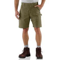 Carhartt Men's Canvas Cell Phone Pocket Work Short B144, Army Green, 34
