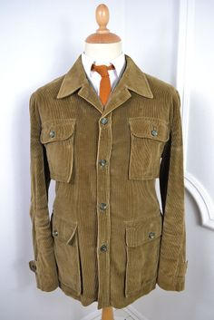 VINTAGE 1970's JAEGER GREEN CORDUROY SAFARI BLAZER JACKET LARGE 44 REGULAR