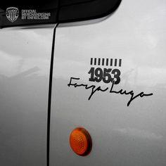 Pegatina Forza Lugo con vinilo adhesivo de color negro para pegado directo de fácil colocación.    Tamaño, ancho 14cm, alto 6cm Company Logo, Website, Color, Stickers, Colour, Colors