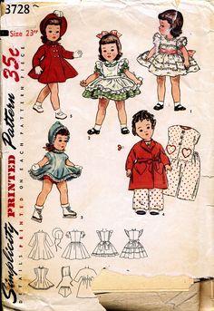 This is a vintage doll pattern but the designs are so adorable!