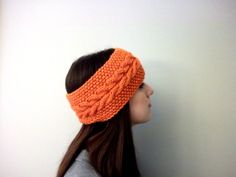 Hand Knit Orange Cable & Moss Stitch Headband/Ear Warmer