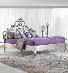 french rococo luxury bed Cool Furniture, Bedroom Furniture, Bedroom Decor, Silver Furniture, Beautiful Bedrooms, Beautiful Beds, Silver Bedroom, Purple Home, Purple Bedrooms