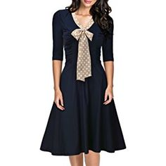 Miusol Women's Retro Flare Bow A-line 3/4 Sleeve Slim Evening Party Swing Dress