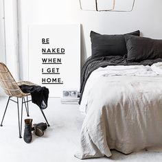 Be Naked When I Get Home  Typography Print  by honeymoonhotel
