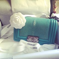 Chanel Blue Leather Boy Bag