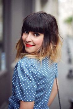 Ombre Hair with Bangs for Long Faces