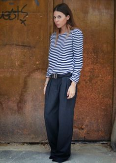 MAJA WYH# striped shirt# baggy pant