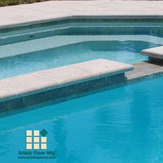 Two sided coping on the raised spa wall. Spillway using three sided coping - a very clean look with no need for cuts. Swimming Pools Backyard, Pool Decks, Pool Landscaping, Paver Deck, Pool Pavers, Pool Coping, Decking Material, Brick Tiles, How To Look Better