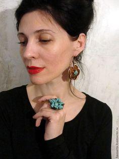 Купить Серьги из меди «Цвет бирюзы» (Сolor turquoise) - бирюзовый, серьги ручной работы