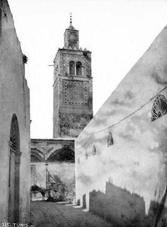 Tunis  Mosquée Jemaa al Ksar  Minaret depuis une rue  1887