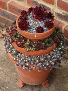 no instructions, but it looks like three different sized pots filled partially with soil and then stacked with plants in the exposed soil ~ Succulents & Cactus require such little moisture. Succulents In Containers, Container Plants, Cacti And Succulents, Planting Succulents, Container Gardening, Planting Flowers, Container Flowers, Rockery Garden, Garden Plants