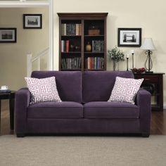 Portfolio Madi Purple Velvet Sofa with Amethyst Purple Greek Key Accent Pillows | Overstock.com