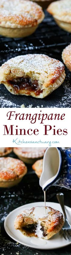 Mince Pies with homemade pastry - serve warm or cold.Frangipane Mince Pies with homemade pastry - serve warm or cold. Christmas Snacks, Xmas Food, Christmas Cooking, Christmas Mince Pies, Mini Christmas Cakes, Xmas Cakes, Christmas Parties, Best Mince Pies, Mince Pies Recipe