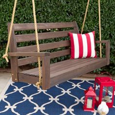 Porchgate Amish Tisbury Cedar Porch Swing With Ropes