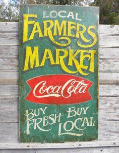 Farmers Market Sign, wooden, hand painted,original,Coke logo,faux vintage decor