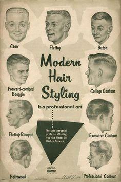 1950s men's barber shop haircuts.