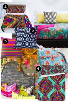 Aimee's Blog: Textiles & Other Ramblings: Boho Brights #colourful #bedroom #moroccan #bohemian #homeaccessories #inspiration