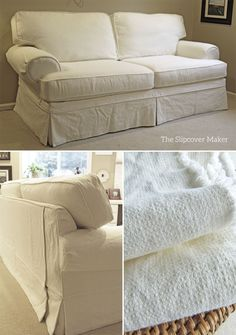 Washed linen-cotton slipcover updates a 12 year old Flexsteel sofa beautifully.