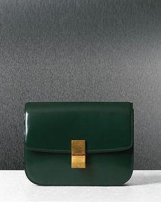 Fall 2012 CÉLINE Classic Medium Flap Bag in Spazzolato Calfskin Dark Green  Green Box 3b492fd1a827b