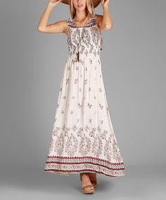 Look what I found on #zulily! White & Red Abstract Floral Maxi Dress #zulilyfinds