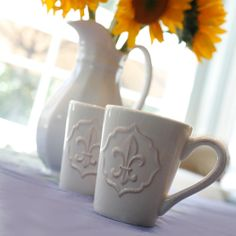 Fleur de lis Mugs, chicory coffee anyone?
