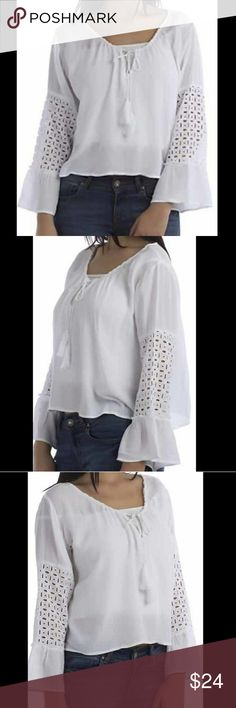 Bell Sleeves with eyelet work 55% cotton  45% polyester Tops