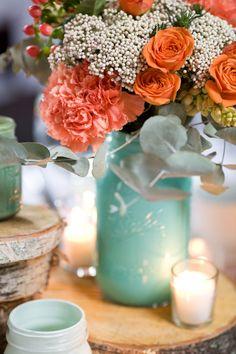 coated mason jar vases // photo by Jennifer Boyle Photography // http://ruffledblog.com/sentimental-brooklyn-wedding