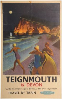 British Railways promotional poster for Teignmouth (Tin-muth), Devon in south west England, UK.