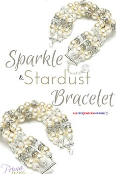 Using spacers in a bracelet like this really makes it sparkle. I bet this would look good with different colored pearls too. @primabead