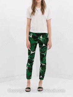 Green Zipper Fly Leaves Print Skinny Pant -$26.09