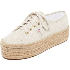 Superga 2790 Linen Platform Espadrille Sneakers (€69) ❤ liked on Polyvore featuring shoes, sneakers, natural, platform espadrilles shoes, platform espadrille sneakers, lace up sneakers, platform shoes and laced up shoes