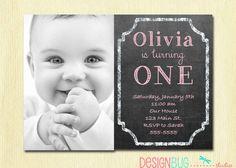 1st Birthday Girl Invitation  Custom Chalkboard by DesignBugStudio. , via Etsy.