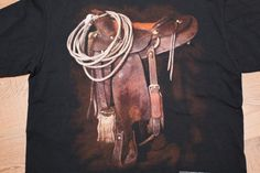 Vintage 1993 3D Emblem Rodeo Saddle & Cowboy Gear T-Shirt, 1990s Western Fashion