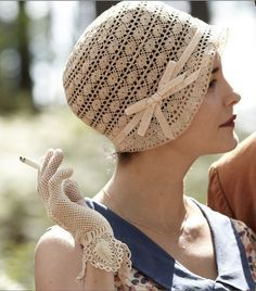 Celebrity Audrey Tautou in Crochet Hat.now if only they had a pattern for this hat! Love Crochet, Beautiful Crochet, Vintage Crochet, Knit Crochet, Crochet Style, Crochet Trim, Crochet Summer Hats, Crocheted Hats, Crochet Crafts