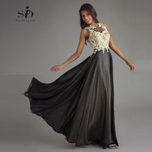 Black Formal Gown Champagne Lace Appliques Vintage Womens Evening Gowns Keyhole Backless A line Chiffon Long