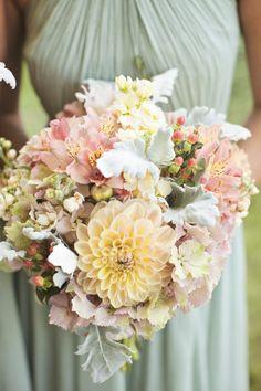 Pastel bouquet: http://www.stylemepretty.com/2014/06/23/rustic-at-home-wedding/ | Photography: Amanda Lloyd Photography - http://amanda-lloyd.com/