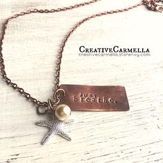 When I really focus on these words, I can feel my body slow down and relax... ahhhhh. Just breathe, take time to take it all in. This hand stamped, hand cut copper pendant measures 1.5 inches long. The pendant and all charms are attached to a copper chain that measures 24 inches long