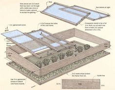 Extend your Growing Season! Build a Simple Cold Frame: This cold frame is a bottomless box topped by glass frames. With the materials list, a detailed plan, and instructions, you'll be able to build your own. Cold Frame Gardening, Organic Gardening, Farm Gardens, Outdoor Gardens, Raised Gardens, Outdoor Projects, Garden Projects, My Pool, Garden Structures